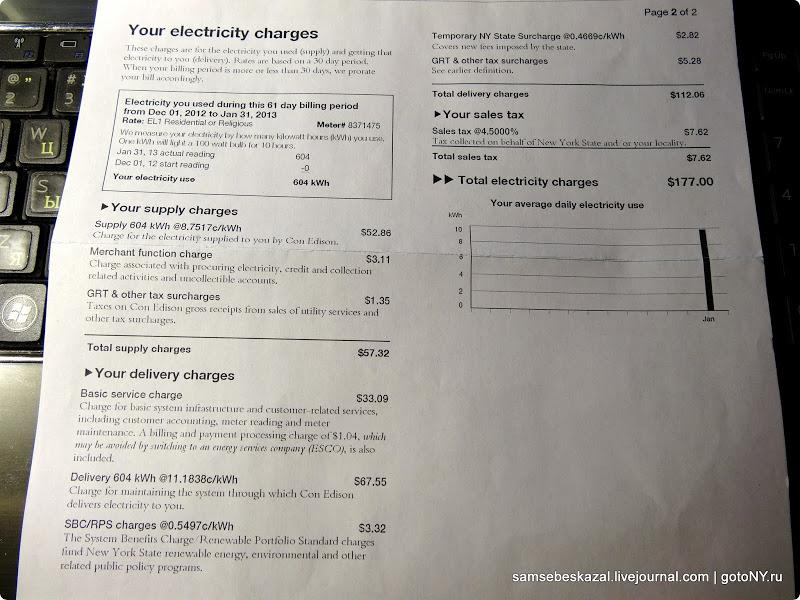 Счет за электричество