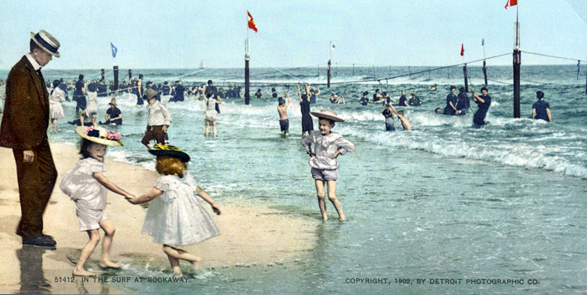 In the Surf at Rockaway, New York, New York - Year 1902