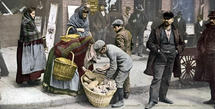 Italian Bread Peddlers, New York, New York - Year 1902