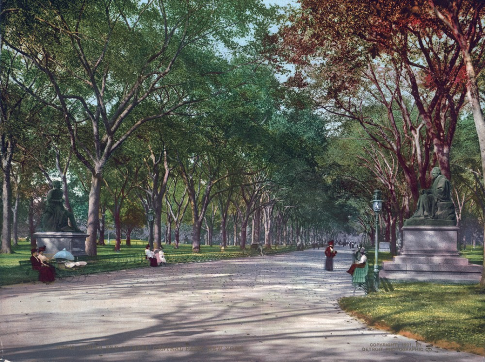 Lower End of Mall, Central Park, New York, New York - Year 1901