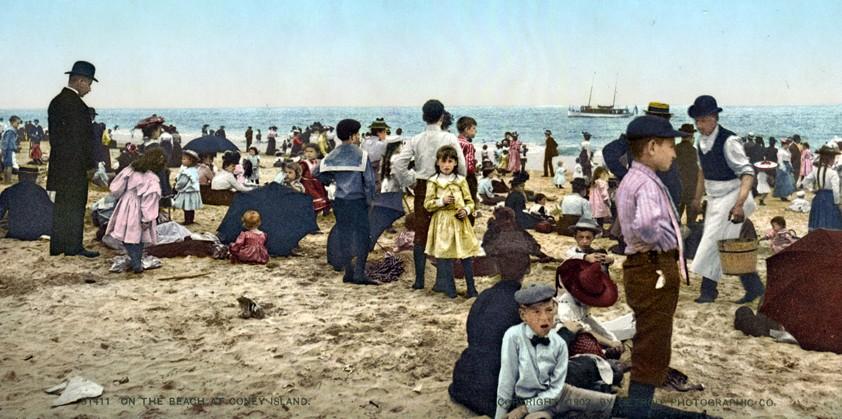On the Beach at Coney Island, New York, New York - Year 1902