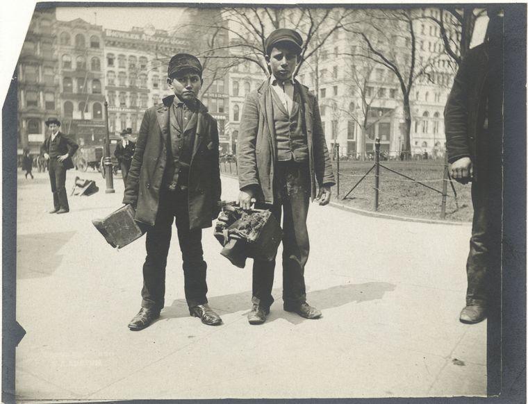 Bootblacks, City Hall Park, NYC. (1896)
