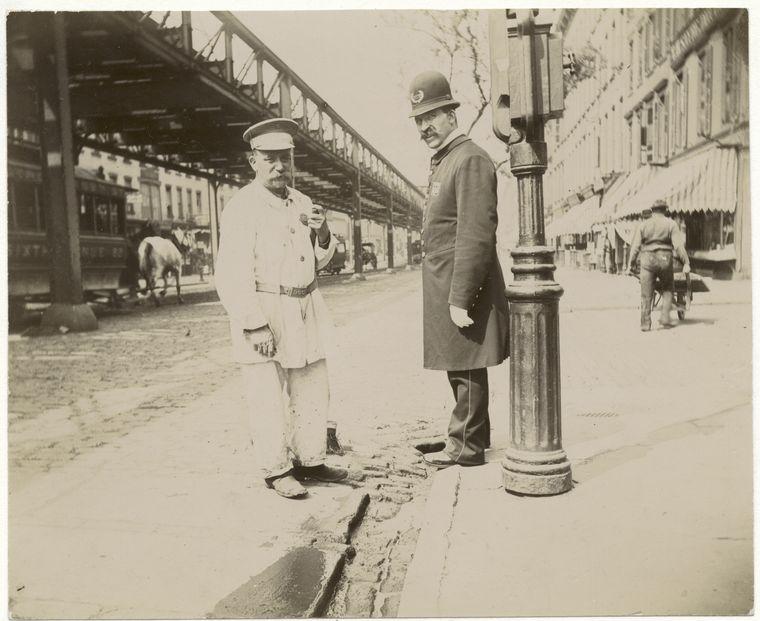 Policeman & street sweeper. (1896)