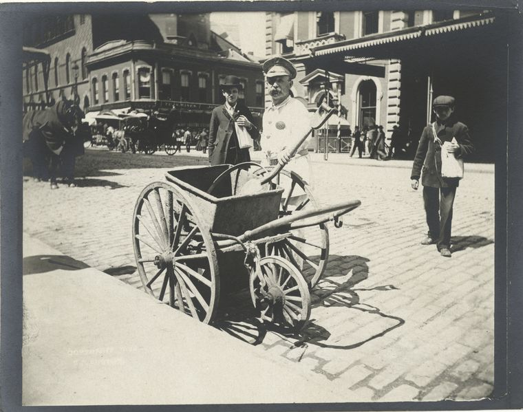 Street sweeper with hand cart. (1896)