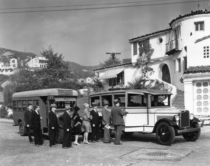 Boarding busses in Hollywoodlannd 1928