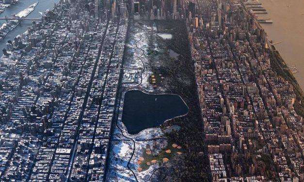 Манхэттен и Центральный парк под снегом