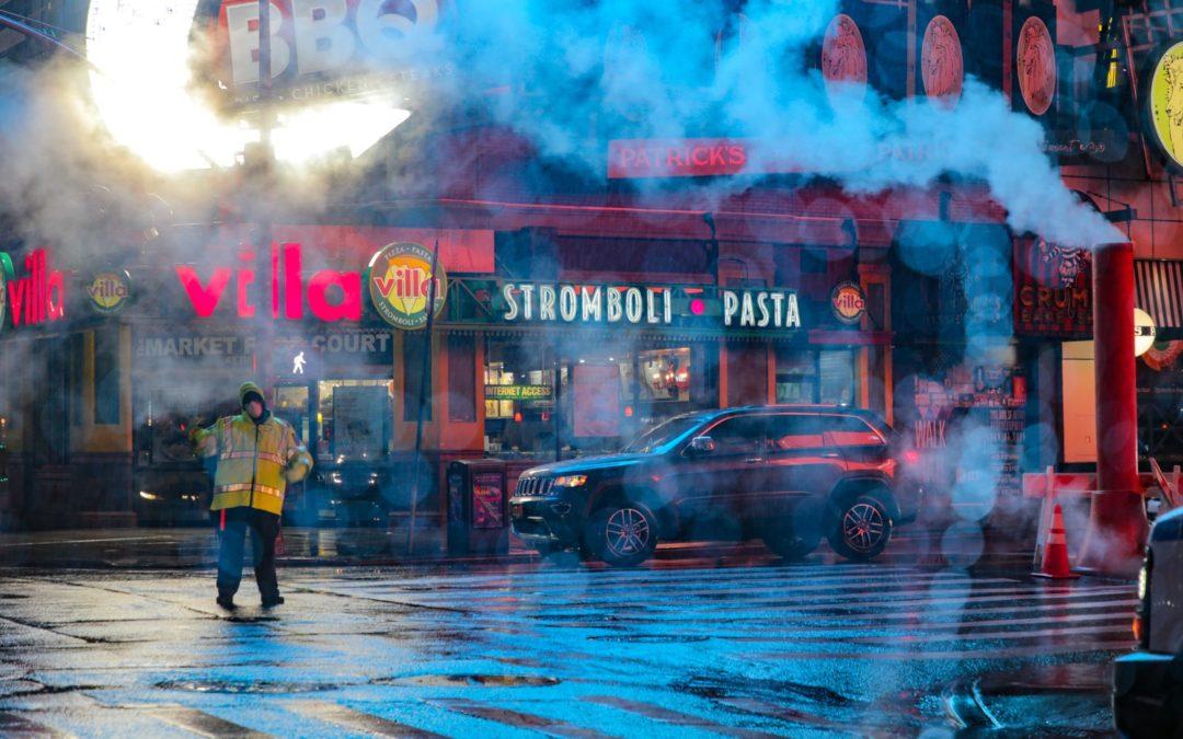 Дождливая пустота Таймс-сквер.