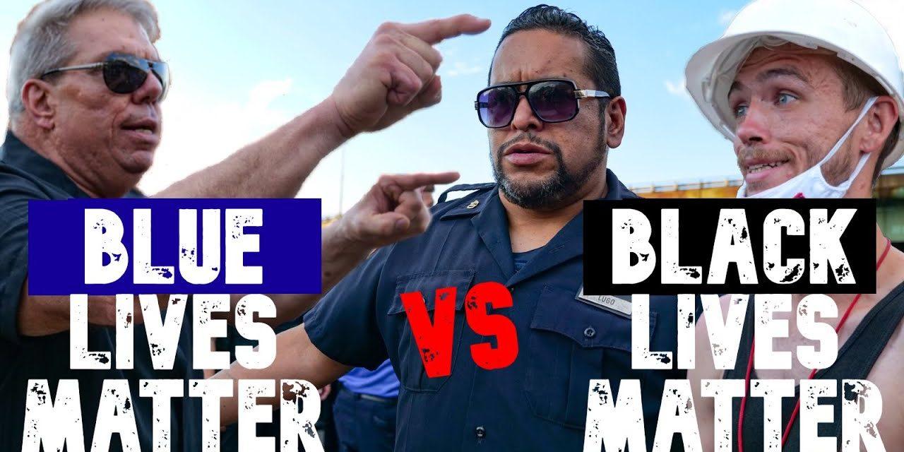 Акция в поддержку полиции в Бруклине. Сторонники NYPD против сторонников BLM.